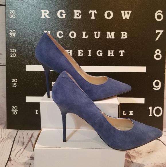 Pleaser Shoes - Brand New Blue Faux Suede Pump